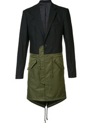 D Gnak Colour Block Single Breasted Coat Black