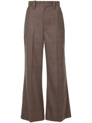 G.V.G.V. Wide Leg Tailored Trousers Polyester Polyurethane Rayon Wool Brown