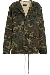 Saint Laurent Hooded Camouflage Print Cotton Canvas Parka Army Green