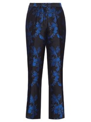Stella Mccartney Floral Brocade Cropped Trousers Black Multi