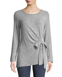 Casual Couture Bow Tie Soft Knit Tunic Black