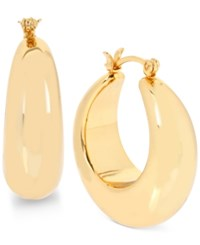 Touch Of Silver Hint Of Gold Wide Hoop Earrings In 14K Gold Plated Metal Yellow Gold