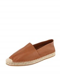 Valentino Leather Espadrille Loafer Brown
