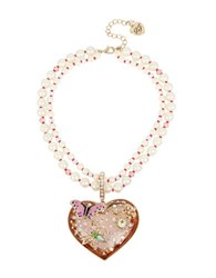 Betsey Johnson Buzz Off Mixed Multi Charm Cluster 7 10Mm Faux Pearl Heart Pendant Necklace Gold