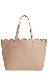 Junior Women's Bp. Scalloped Faux Leather Tote Beige Taupe