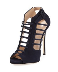 Giuseppe Zanotti For Jennifer Lopez Cam Caged Suede Peep Toe 120Mm Bootie Navy
