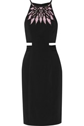 Badgley Mischka Cutout Crepe Dress Black