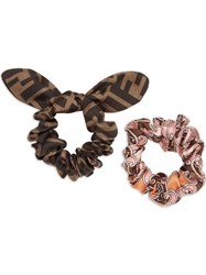 Fendi Set Of Two Hairdbands Pink