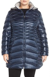 Plus Size Women's Laundry By Shelli Segal Packable Down And Feather Fill Two Tone Coat Navy Pewter