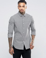 Asos Slim Shirt With Stretch In Monochrome Grid Check With Long Sleeves White