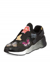 Ash Mix Butterfly Patch Slip On Sneaker Black