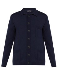 Thom Sweeney Patch Pocket Merino Wool Cardigan Navy