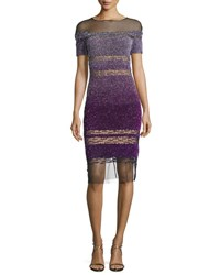 Pamella Roland Short Sleeve Signature Ombre Sequin Dress Purple