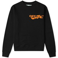 Off White Bubble Font Print Crew Sweat Black