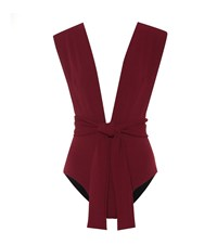 Haight Band V Crepe Swimsuit Red