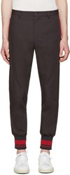 Dolce And Gabbana Grey Red Rib Knit Cuff Trousers