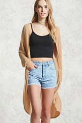 Forever 21 Ribbed Dolman Sleeve Cardigan Taupe