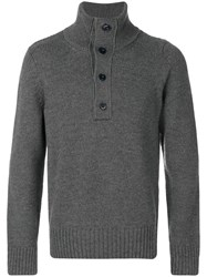 Closed Buttoned High Neck Jumper Men Wool M Grey