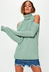 Missguided Green Chunky Cold Shoulder Jumper