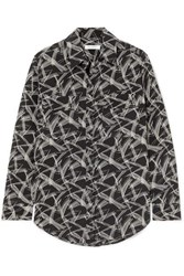 Equipment Signature Printed Silk Shirt Black
