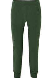 Norma Kamali Striped Stretch Jersey Track Pants Forest Green