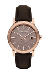 Burberry Men's Check Stamped Round Dial Watch Metallic
