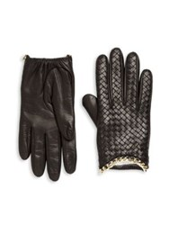 Portolano Intrecciato Weave Leather Gloves Black