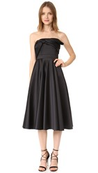Cynthia Rowley Strapless Tea Length Dress Black