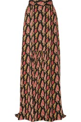 Vilshenko Jo Printed Silk Twill Maxi Skirt Black