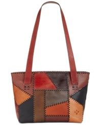Patricia Nash Patchwork Nevoso Double Zip Tote Patchwork Chocolate