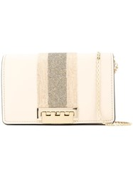 Zac Posen Earthette Racing Stripe Crystal Crossbody Nude And Neutrals