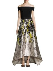 Theia Hi Lo Off The Shoulder Gown Black Lemon