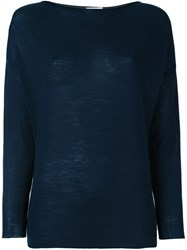 Liska Boat Neck Sweater Blue