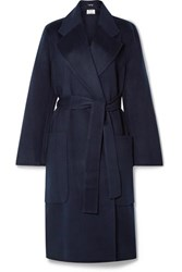 Acne Studios Carice Belted Double Breasted Wool Coat Midnight Blue
