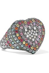 Carolina Bucci 18 Karat Blackened Gold Multi Stone Ring 6