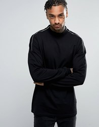 Asos Oversized Long Sleeve T Shirt In Black With Turtle Neck And Zip Shoulders Black