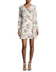 Design Lab Lord And Taylor Floral Print Wrap Dress Cream Floral