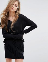 Religion Jumper Dress With All Over Frills Black