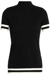 Madeleine Thompson Leo Striped Wool And Cashmere Blend Top Black