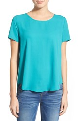 Petite Women's Pleione Pleat Back Woven Print Top Jade Aqua