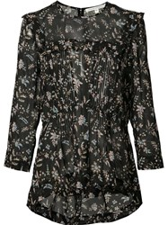 Veronica Beard Floral Print Sheer Blouse Black
