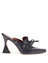 Sies Marjan Remi Patent Crocodile Effect Leather Mules Navy