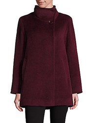 Cinzia Rocca Llama And Wool Funnelneck Coat Berry