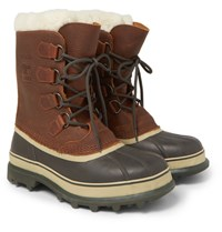 Sorel Caribou Shearling Lined Waterproof Leather Snow Boots Brown