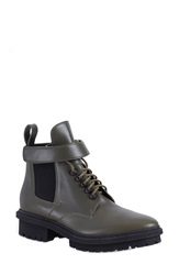 Balenciaga Gored Ankle Strap Boot Women Olive Green Leather