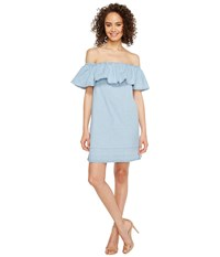 7 For All Mankind Off The Shoulder Denim Dress W Released Hem In Cool Wave Blue Cool Wave Blue Women's Dress