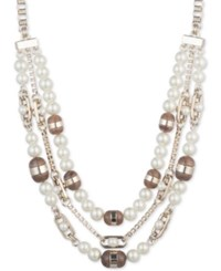Dkny Gold Tone Colored Stone And Imitation Pearl Triple Row 16 Collar Necklace Created For Macy's