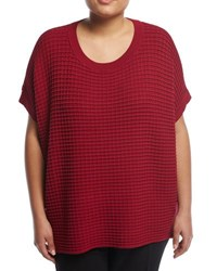 Lafayette 148 New York Relaxed Waffle Stitch Sweater Red