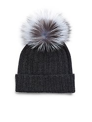 Saks Fifth Avenue Dyed Fox Fur And Cashmere Soft Cap Black