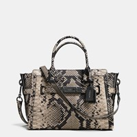 Coach Swagger 27 Carryall In Snake Embossed Leather Dark Gunmetal Natural
